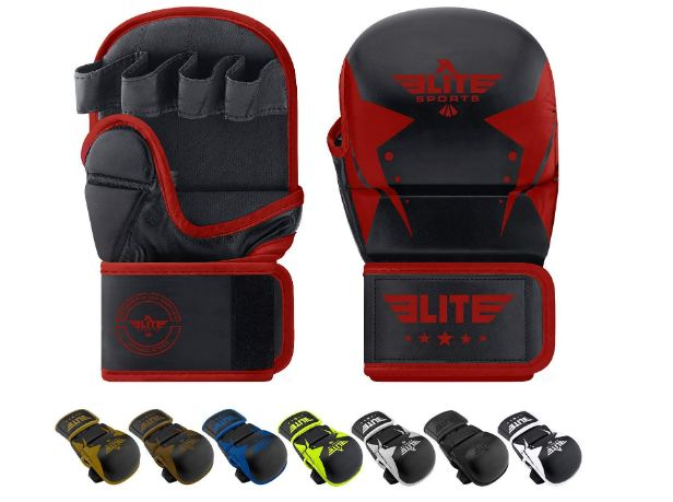 1 Elite Sports MMA Grappling Training Sparring Mitts Gloves, Best MMA Gloves for Grappling Martial Arts