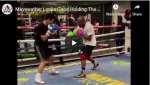 Floyd Mayweather Starts Training Career Holding Pads